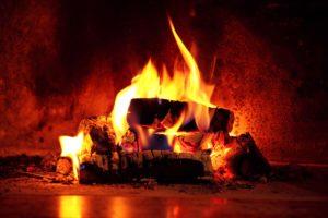 Fireplace, burning logs